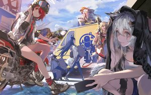 Rating: Safe Score: 45 Tags: animal animal_ears arknights bicycle blonde_hair blue_eyes blue_hair clouds croissant_(arknights) dress exusiai_(arknights) gloves gray_hair group halo kiriyama lappland_(arknights) long_hair orange_eyes penguin phone ponytail red_eyes red_hair scar short_hair sky sora_(arknights) staff tail texas_(arknights) the_emperor_(arknights) User: BattlequeenYume