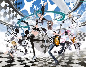 Rating: Safe Score: 101 Tags: achunchun drums group guitar hatsune_miku horse_head instrument kagamine_len kagamine_rin kaito male megurine_luka twintails vocaloid User: w7382001