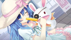 Rating: Safe Score: 180 Tags: blue_eyes blue_hair bow bunny date_a_live doll dress food hat popsicle puppet tagme wink yoshino_(date_a_live) yoshinon_(date_a_live) User: Stealthbird97