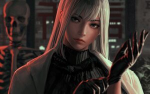 Rating: Safe Score: 68 Tags: blue_eyes bones cape close gloves guweiz long_hair original realistic skull white_hair User: SciFi