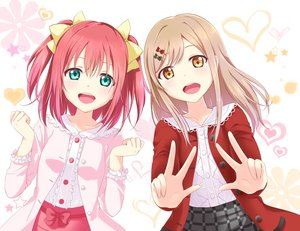 Rating: Safe Score: 73 Tags: 2girls aliasing aqua_eyes bow brown_hair heart kunikida_hanamaru kurosawa_ruby long_hair love_live!_school_idol_project love_live!_sunshine!! orange_eyes red_hair short_hair skirt twintails yuki_(sangeki5806) User: otaku_emmy