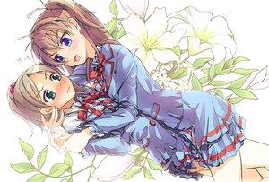 Rating: Safe Score: 58 Tags: 2girls blue_eyes blush brown_hair flowers futago_monad green_eyes houjou_hibiki long_hair minamino_kanade precure seifuku suite_precure User: opai