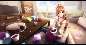 Rating: Safe Score: 17 Tags: blush brown_hair bubbles cake clouds doki_doki_literature_club! drink food grass green_eyes hat long_hair monika_(ddlc) ponytail skirt sky thighhighs tsukimaru User: otaku_emmy