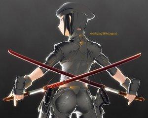 Rating: Safe Score: 28 Tags: black_hair gloves hat short_hair skintight sword tagme weapon User: Oyashiro-sama