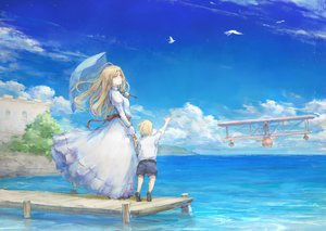 Rating: Safe Score: 80 Tags: aircraft animal bird blonde_hair long_hair original sky tori_(qqqt) umbrella water User: opai