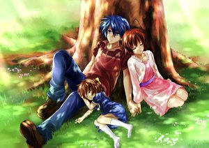 Rating: Safe Score: 73 Tags: blue_eyes blue_hair bow brown_hair clannad furukawa_nagisa grass loli okazaki_tomoya okazaki_ushio short_hair sleeping socks tree yomi_yasou User: gnarf1975