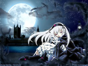 Rating: Safe Score: 15 Tags: feathers goth-loli lolita_fashion long_hair moon purple_eyes rozen_maiden stars suigintou watermark white_hair User: 秀悟