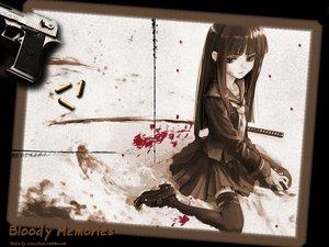 Rating: Safe Score: 63 Tags: black_hair blood gun long_hair sword uesugi_kenshin uniform weapon User: Oyashiro-sama