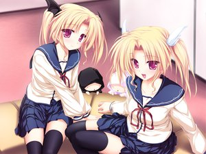 Rating: Safe Score: 55 Tags: magus_tale nina_geminis rena_geminis school_uniform tenmaso thighhighs whirlpool User: 秀悟