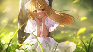Rating: Safe Score: 72 Tags: blonde_hair blush dress grass hololive long_hair narumi_nanami orange_eyes pointed_ears shiranui_flare summer_dress User: BattlequeenYume