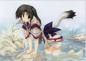 Rating: Safe Score: 15 Tags: amaduyu_tatsuki animal_ears black_hair brown_eyes eruruw tail utawarerumono water User: Oyashiro-sama