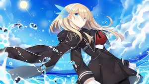 Rating: Safe Score: 63 Tags: anthropomorphism aqua_eyes brown_hair cape gloves i.f.s.f lexington pantyhose uniform water zhanjian_shaonu User: RyuZU