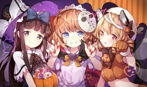 Rating: Safe Score: 103 Tags: animal_ears aqua_eyes bow brown_hair candy cape catgirl cosplay fang food gloves halloween hat loli lollipop long_hair luna_child mask multiple_tails pumpkin purple_eyes red_eyes risui_(suzu_rks) short_hair signed star_sapphire sunny_milk tail touhou vampire witch_hat User: otaku_emmy