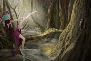 Rating: Safe Score: 39 Tags: akaikitsune aqua_hair barefoot bow dress forest kagiyama_hina touhou tree water User: opai