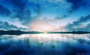 Rating: Safe Score: 46 Tags: clouds kijineko original reflection scenic sky water watermark User: RyuZU