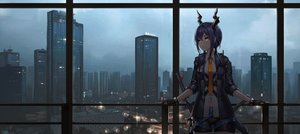 Rating: Safe Score: 58 Tags: arknights blue_hair building ch'en_(arknights) city gloves horns mool_yueguang orange_eyes scenic shorts sword tie twintails weapon User: mattiasc02