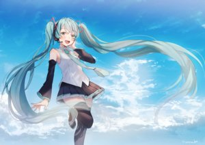 Rating: Safe Score: 24 Tags: clouds hanako151 hatsune_miku long_hair sky twintails vocaloid zettai_ryouiki User: FormX