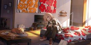 Rating: Safe Score: 40 Tags: animal bed blonde_hair book dog drink miyabino original sleeping yellow_eyes User: あかり