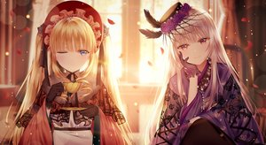 Rating: Safe Score: 110 Tags: 2girls blonde_hair dress drink ecu8080 feathers flowers gloves hat long_hair red_eyes rose rozen_maiden shinku suigintou white_hair wink User: BattlequeenYume