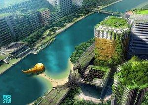 Rating: Safe Score: 61 Tags: building city landscape original ruins scenic tokyogenso tree water watermark User: RyuZU