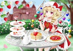 Rating: Safe Score: 42 Tags: blonde_hair bow building cake dress drink flandre_scarlet flowers food fruit hat nyanyanoruru petals pink_eyes ponytail strawberry touhou tree vampire wings wristwear User: otaku_emmy