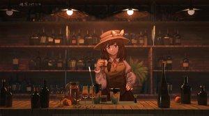 Rating: Safe Score: 61 Tags: 3d bow brown_eyes brown_hair drink furahata_gen hat shirt short_hair skirt tie touhou usami_renko User: RyuZU