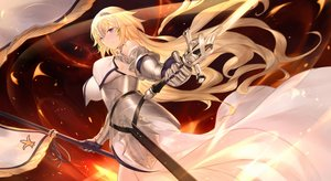 Rating: Safe Score: 98 Tags: armor blonde_hair blue_eyes breasts cangkong dress fate/apocrypha fate/grand_order fate_(series) fire headdress jeanne_d'arc_(fate) long_hair sword weapon User: luckyluna