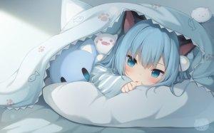Rating: Safe Score: 81 Tags: amashiro_natsuki animal_ears aqua_eyes aqua_hair bed blush catgirl long_hair nekoha_shizuku original User: BattlequeenYume