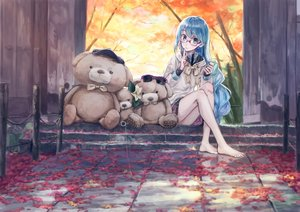 Rating: Safe Score: 31 Tags: 54crystle autumn barefoot blue_hair glasses green_eyes hatsune_miku hoodie leaves long_hair school_uniform skirt sunglasses teddy_bear vocaloid User: BattlequeenYume