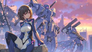 Rating: Safe Score: 77 Tags: bodysuit brown_hair building city clouds cocoa_music doumyouji_cocoa mecha pinakes purple_eyes ruins short_hair sky sunset User: BattlequeenYume