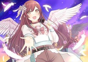 Rating: Safe Score: 33 Tags: blush bow brown_eyes brown_hair clouds feathers idolmaster idolmaster_shiny_colors long_hair oosaki_amana sasakamasasa sky tagme_(character) wings User: RyuZU