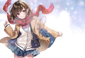 Rating: Safe Score: 73 Tags: brown_eyes brown_hair morikura_en original photoshop scan scarf school_uniform short_hair skirt snow User: Nepcoheart