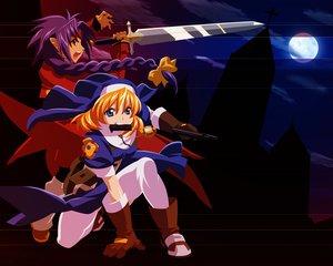 Rating: Safe Score: 8 Tags: chrno chrono_crusade gun moon nun pointed_ears rosette_christopher sword weapon User: Oyashiro-sama