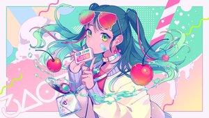 Rating: Safe Score: 55 Tags: aliasing cherry collar food fruit green_eyes green_hair long_hair nou original sunglasses twintails water User: mattiasc02