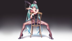 Rating: Safe Score: 132 Tags: animal_ears aqua_eyes aqua_hair bunny_ears bunnygirl cigarette gradient hatsune_miku headphones pantyhose spread_legs takouji twintails vocaloid User: gnarf1975