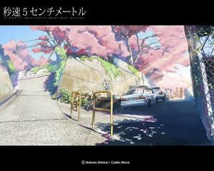 Rating: Safe Score: 50 Tags: bicycle byousoku_5_centimetre car cherry_blossoms flowers petals scenic shinkai_makoto shinohara_akari toono_takaki tree User: Oyashiro-sama