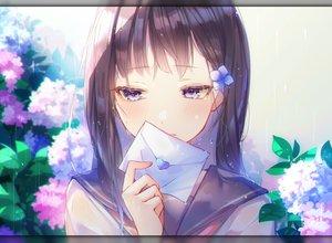 Rating: Safe Score: 52 Tags: blush brown_hair close flowers original paper purple_eyes rain recotasan school_uniform tears water wet User: BattlequeenYume