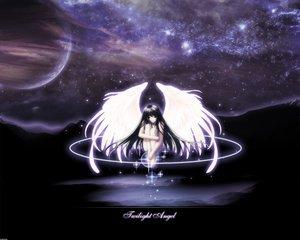 Rating: Safe Score: 12 Tags: angel barefoot black_eyes black_hair long_hair moon night nude planet space stars tagme_(artist) twilight wings User: Oyashiro-sama