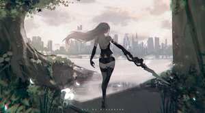 Rating: Safe Score: 113 Tags: ass building city clouds erospanda flowers long_hair nier nier:_automata sky sword techgirl thighhighs torn_clothes tree water watermark weapon white_hair yorha_unit_no._2_type_a User: BattlequeenYume