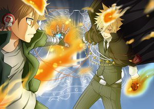 Rating: Safe Score: 33 Tags: blonde_hair brown_hair cape fire giotto gloves headphones katekyou_hitman_reborn orange_eyes sawada_tsunayoshi short_hair tie User: Tensa