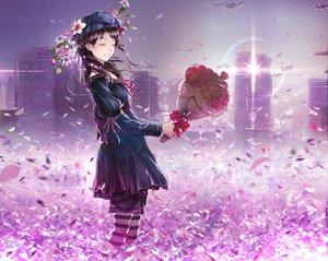 Rating: Safe Score: 97 Tags: black_hair building city flowers jname petals rose tagme User: HawthorneKitty