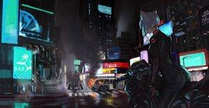 Rating: Safe Score: 101 Tags: animal_ears bodysuit building catgirl city gloves jun_(5455454541) motorcycle night original robot short_hair white_hair User: SciFi