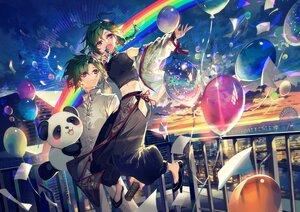 Rating: Safe Score: 13 Tags: all_male clouds green_hair male mura_karuki nijisanji purple_eyes rainbow ryuushen short_hair sky sunset User: BattlequeenYume