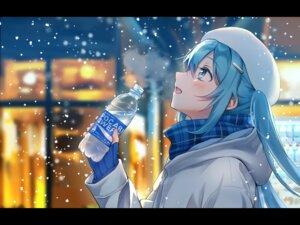 Rating: Safe Score: 59 Tags: aqua_eyes aqua_hair blush hat hatsune_miku long_hair scarf snow tagme_(artist) twintails vocaloid User: Maboroshi