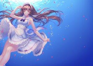 Rating: Safe Score: 55 Tags: apron brown_eyes brown_hair gradient headdress long_hair maid original sakura_shiho_(shihoncake) skirt_lift underwater water User: Arsy