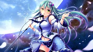 Rating: Safe Score: 65 Tags: blush breasts flowers green_eyes green_hair hiro_(725611) japanese_clothes kochiya_sanae long_hair microphone miko moon navel petals rose shirt skirt sky thighhighs touhou User: 蕾咪