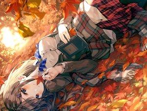 Rating: Safe Score: 71 Tags: autumn blush book brown_hair chicking leaves long_hair original pantyhose red_eyes scarf school_uniform shirt skirt User: BattlequeenYume