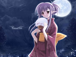Rating: Safe Score: 3 Tags: animal bat fan japanese_clothes kimono long_hair moon nerine night pointed_ears purple_hair red_eyes shuffle sky stars User: Oyashiro-sama