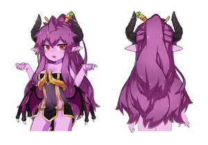 Rating: Safe Score: 31 Tags: breasts cleavage dress fang horns long_hair ming_(oc) nopan original pointed_ears ponytail purple_hair red_eyes tagme_(artist) white User: otaku_emmy