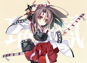 Rating: Safe Score: 77 Tags: anthropomorphism bow_(weapon) brown_hair gloves headband japanese_clothes kantai_collection ponytail red_eyes shirokitsune weapon zuihou_(kancolle) User: Wiresetc